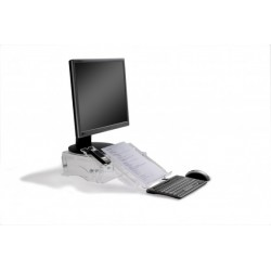 Q-Deskmanager - Rehausseur d'écran réglable en hauteur avec porte-documents